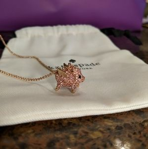 NWT KATE SPADE Pink Crystal Pig Necklace